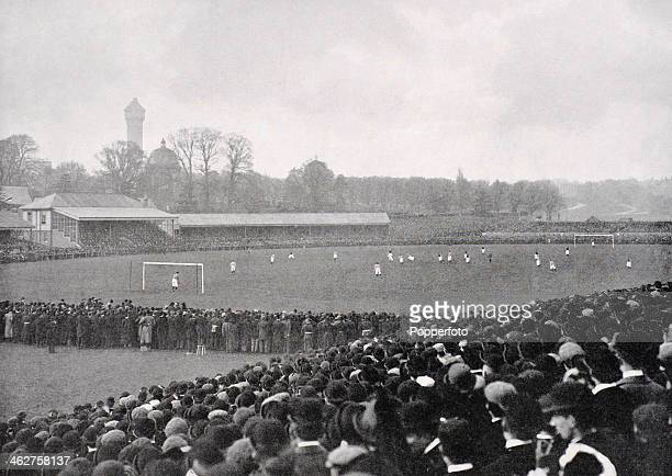 A view of the spectators and the ground during the English FA Cup Final between Aston Villa and Everton held at the Crystal Palace watched by an...
