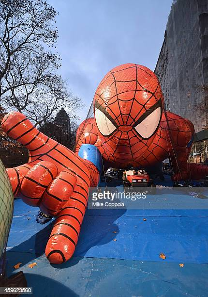 A view of the Spiderman balloon float during the 88th Annual Macy's Thanksgiving Day Parade Rehearsals Inflation Eve on November 26 2014 in New York...