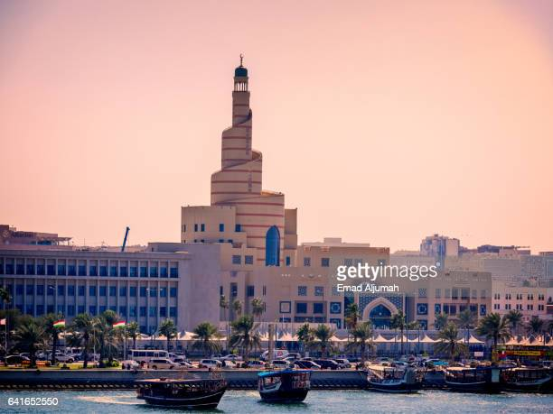 View of the Spiral Mosque from the corniche, Doha, Qatar