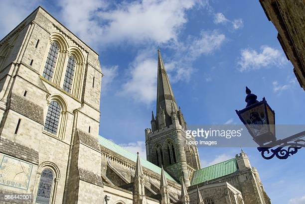 A view of the spire and flying buttresses of Chichester Cathedral