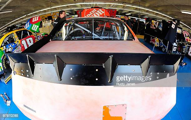 A view of the spoiler on the Joe Gibbs Racing Toyota driven by Joey Logano in the garage during NASCAR spoiler testing at Charlotte Motor Speedway on...