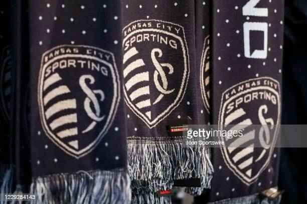 View of the Sporting Kansas City logo on scarfs during an MLS match between the Colorado Rapids and Sporting Kansas City on October 24, 2020 at...