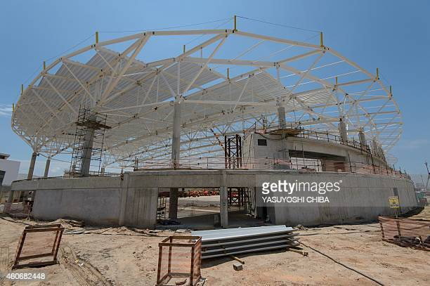 View of the Sports Pavilion 3 for fencing taekwondo and sitting volleyball under construction at the Olympic Park for the Rio 2016 Olympic and...