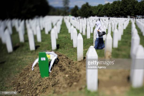 View of the SrebrenicaPotocari Memorial, after the burial of recently identified remains of 33 victims of Srebrenica Genocide on the 24th anniversary...