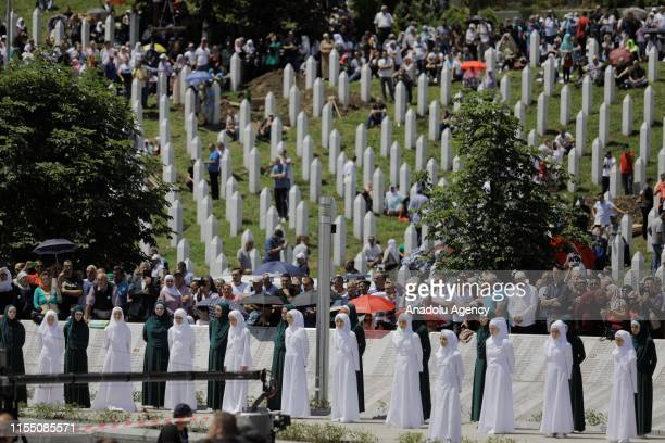 View of the SrebrenicaPotocari Memorial, during the burial of recently identified remains of 33 victims of Srebrenica Genocide on the 24th...