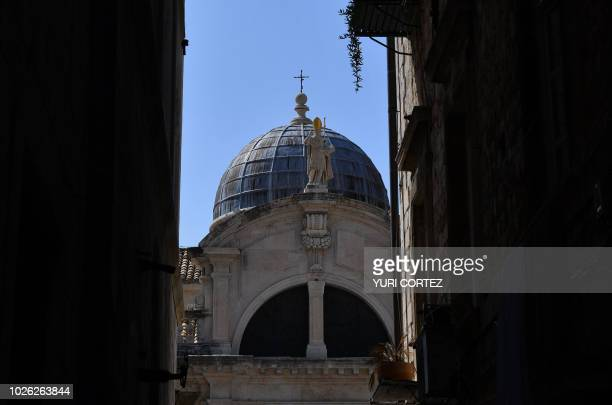 View of the St Blaise church in the walled Old Town of Dubrovnik in Croatia taken on September 2 2018
