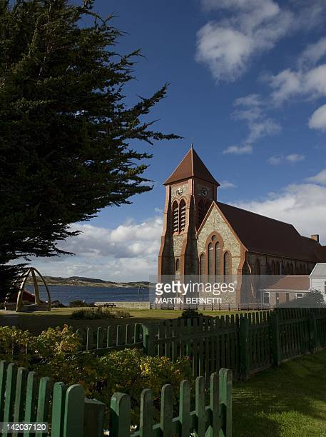 View of the St Mary's Church in Port Stanley in the Falkland Islands on March 28 2012 April 2 2012 commemorates the 30th anniversary of the war...