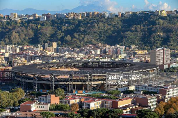 A view of the St Paul stadium before the Champions League football match between Napoli and Paris SaintGermain