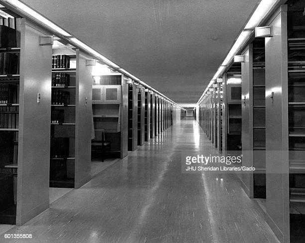 View of the stacks in the Milton S Eisenhower Library of Johns Hopkins University, in Baltimore, Maryland, 1965. .