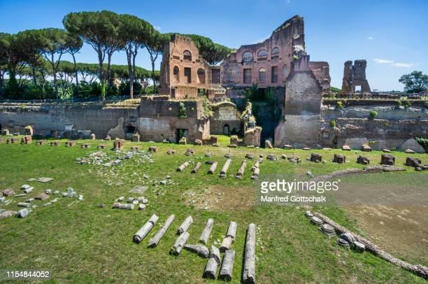 view of the Stadion of Domitian at the Palace of Domitian on Palatine Hill, Rome, Italy, June 28, 2018