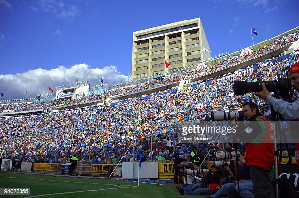 View of the stadium and photographers during a match betwee Cruz Azul and Morelia part of the 2009 Opening tournament in the Mexican Football League...