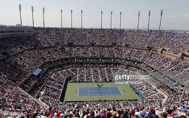 View of the stadium as Kei Nishikori of Japan plays Novak Djokovic of Serbia during their US Open 2014 men's singles semifinals match at the USTA...