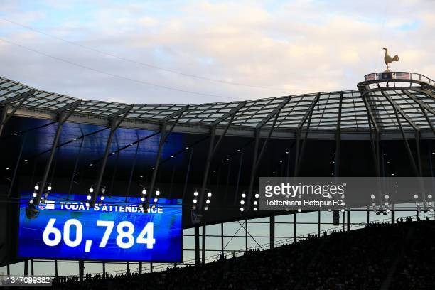 View of the stadium attendance is seen during the NFL London 2021 match between Miami Dolphins and Jacksonville Jaguars at Tottenham Hotspur Stadium...