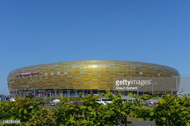 A view of the stadium before a UEFA EURO 2012 training session at the Municipal Stadium on June 13 2012 in Gdansk Poland