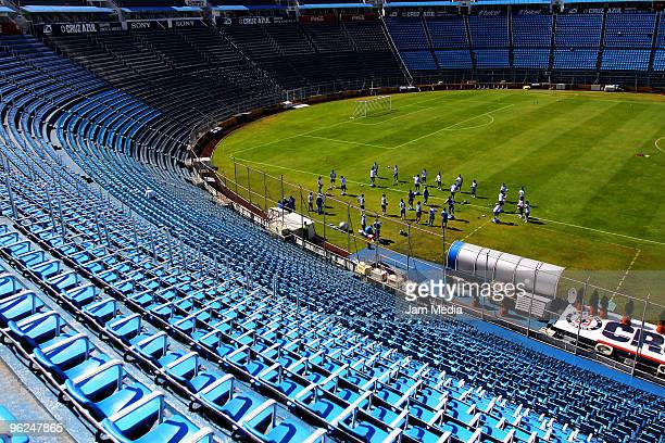 View of the stadium during a Cruz Azul training session at the Azul Stadium on January 28, 2010 in Mexico City, Mexico.