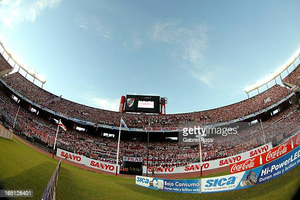 View of the stadium during a match between River Plate and Velez Sarsfield as part of Torneo Final 2013 at Antonio Vespucio Liberti Stadium on March...