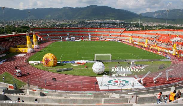 View of the stadium during before match between Jaguares and Pueblas in the 2009 Opening tournament the closing stage of the Mexican Football League...