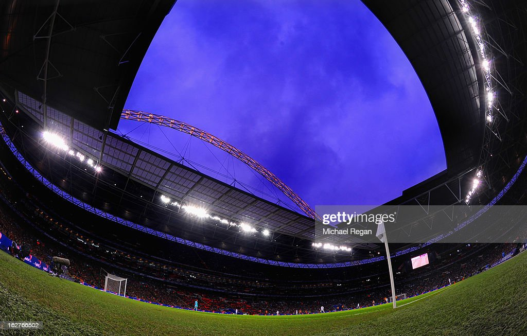 A view of the stadium during the Capital One Cup Final match between Bradford City and Swansea City at Wembley Stadium on February 24, 2013 in London, England.