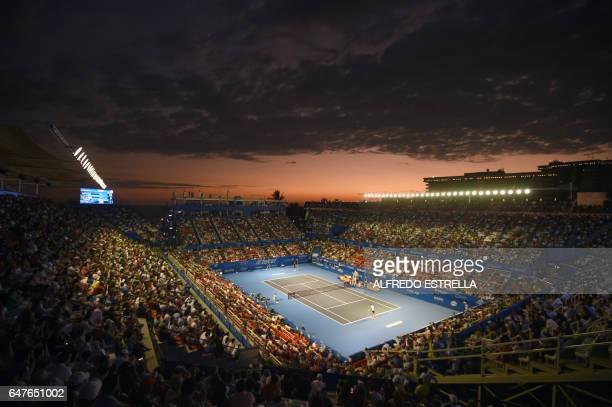 TOPSHOT View of the stadium during the match between Spanish tennis player Rafael Nadal and Croatian tennis player Marin Cilic in the semi finals of...