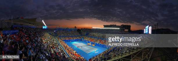 View of the stadium during the match between Spanish tennis player Rafael Nadal and Croatian tennis player Marin Cilic in the semifinals of ATP of...