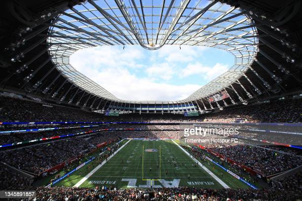 View of the stadium during the NFL London 2021 match between New York Jets and Atlanta Falcons at Tottenham Hotspur Stadium on October 10, 2021 in...