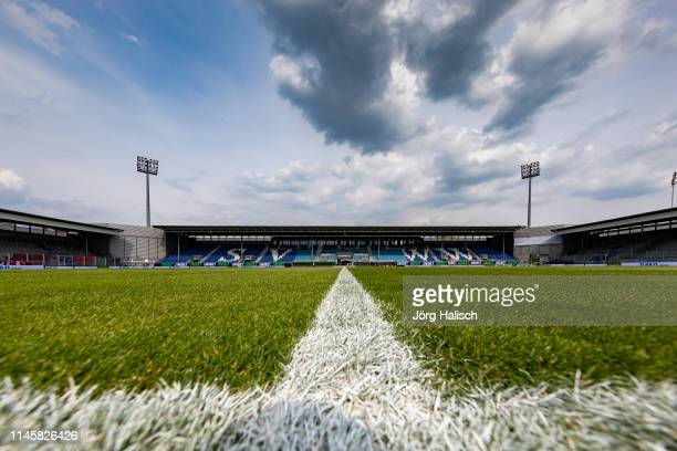 View of the stadium of the Brita Arena before the Second Bundesliga Play Off first leg match between SV Wehen Wiesbaden and FC Ingolstadt at...