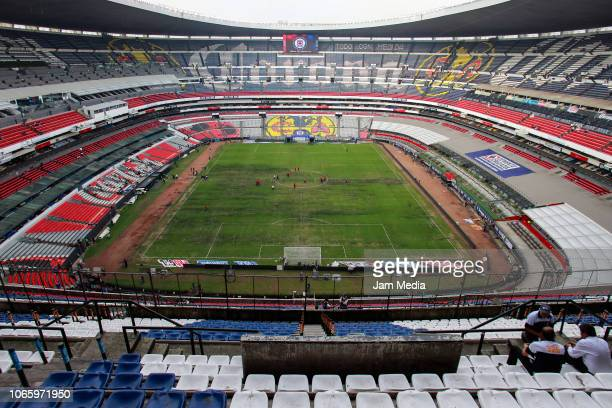 View of the Stadium prior a 16th round match between Cruz Azul and Lobos BUAP as part of Torneo Apertura 2018 Liga MX at Azteca Stadium on November...
