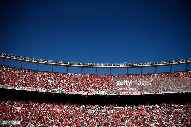 View of the stadium prior to a match between River Plate and Boca Juniors as part of sixth round of Torneo Transicion 2016 at Monumental Antonio...