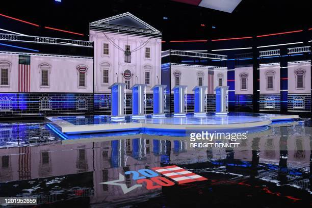 View of the stage ahead of the ninth Democratic primary debate of the 2020 presidential campaign season cohosted by NBC News MSNBC Noticias Telemundo...