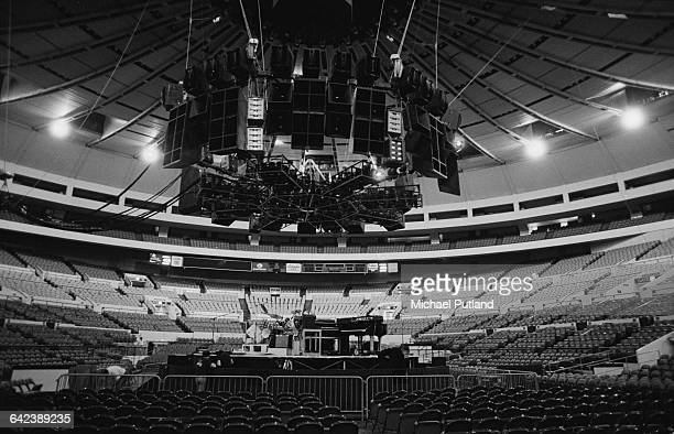 A view of the stage and auditorium at Madison Square Garden before a performance by English progressive rock group Yes at Madison Square Garden New...