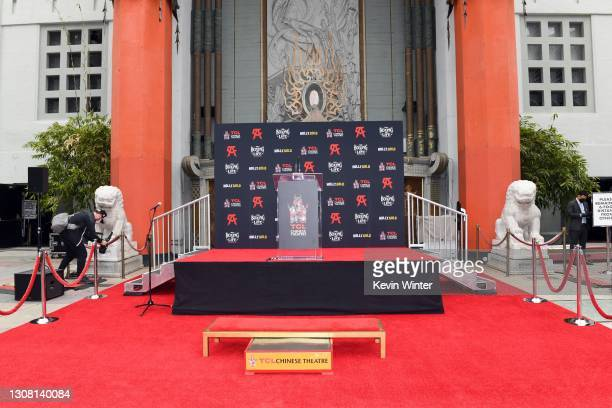 View of the stage and display during the Hand and Footprint Ceremony for boxer Canelo Alvarez at TCL Chinese Theatre on March 20, 2021 in Hollywood,...
