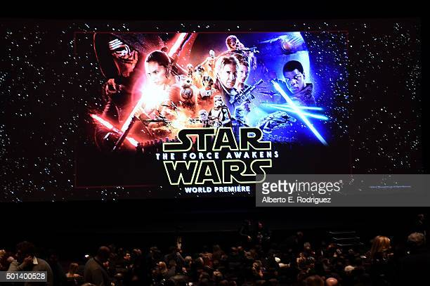 """A view of the stage and screen during the World Premiere of """"Star Wars The Force Awakens"""" at the Dolby El Capitan and TCL Theatres on December 14..."""