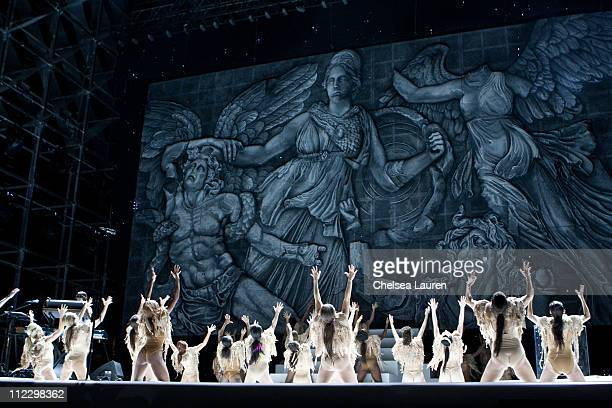 A view of the stage as Kanye West performs at day 3 of the 2011 Coachella Valley Music Arts Festival at The Empire Polo Club on April 17 2011 in...