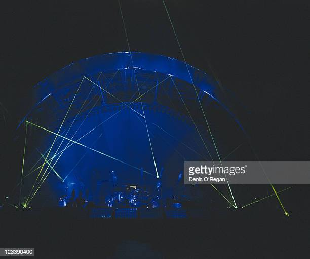A view of the stage at a concert on Pink Floyd's Division Bell Tour 1994 Guitarist Dave Gilmour is in the spotlight centrestage This was the final...