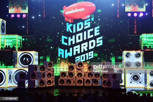 View of the stage at Nickelodeon's 2019 Kids' Choice Awards at Galen Center on March 23 2019 in Los Angeles California