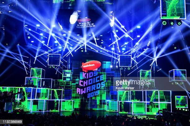 A view of the stage at Nickelodeon's 2019 Kids' Choice Awards at Galen Center on March 23 2019 in Los Angeles California