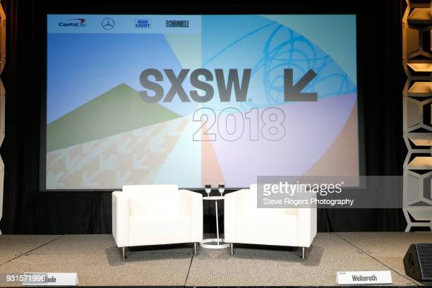 A view of the stage at TRIBE BUILDING 20 Engaging a Conscious Community Online IRL during SXSW at Austin Convention Center on March 13 2018 in Austin...