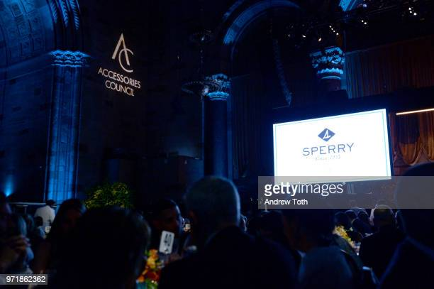 A view of the stage during the 2018 ACE Awards announcing the Waterkeeper Alliance Partnership sponsored by Sperry at Cipriani 42nd Street on June 11...