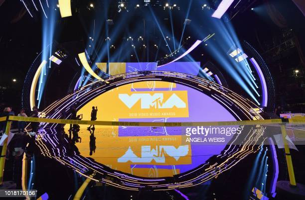 The VMA trophy known as 'Moon Person' is seen during the 2018 VMAs press junket at radio City Music Hall in New York on August 17 2018 The 2018 VMAs...