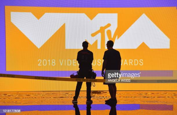 View of the stage during the 2018 MTV Video Music Awards press junket at Radio City Music Hall in New York on August 17 2018 The 2018 VMAs will be...