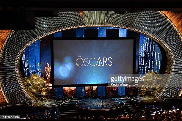 View of the stage during the 88th Annual Academy Awards at the Dolby Theatre on February 28, 2016 in Hollywood, California.