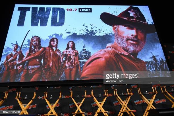 View of the stage during The Walking Dead panel during New York Comic Con at Jacob Javits Center on October 6, 2018 in New York City.