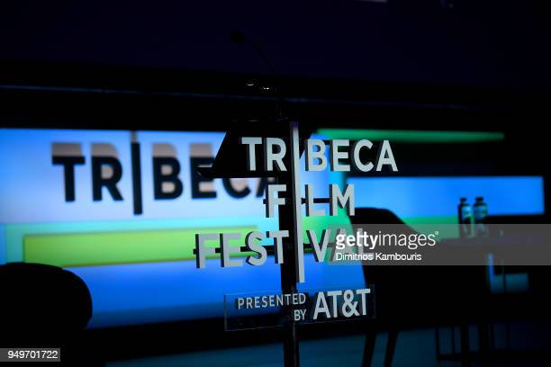 View of the stage for the Storytellers: Bradley Cooper & Robert DeNiro talk during 2018 Tribeca Film Festival at Spring Studios on April 21, 2018 in...