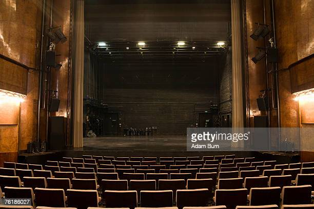 view of the stage in an empty theater - rehearsal stock pictures, royalty-free photos & images