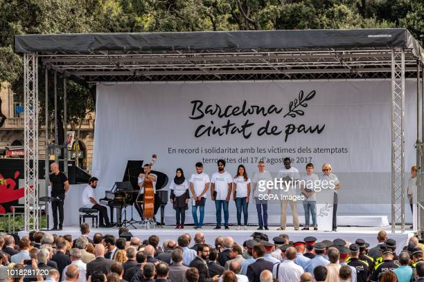 View of the stage in the Plaza Cataluna a place chosen to celebrate the event Barcelona celebrated the first anniversary of the terrorist attack on...