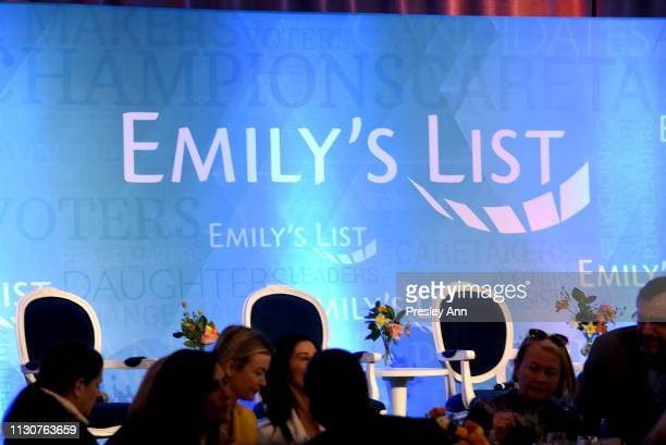 View of the stage inside Raising Our Voices Supporting More Women in Hollywood Politics at Four Seasons Hotel Los Angeles in Beverly Hills on...