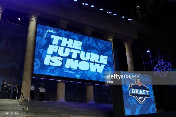 A view of the stage prior to the first round of the 2017 NFL Draft at the Philadelphia Museum of Art on April 27 2017 in Philadelphia Pennsylvania