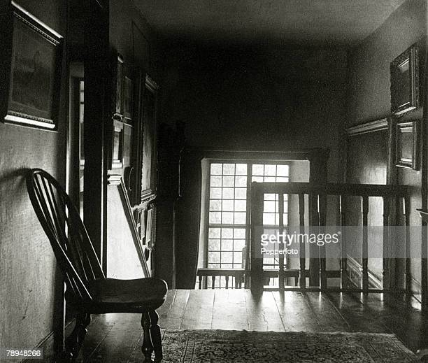 View of the staircase and landing of Hill Top the Lake District home of English author Beatrix Potter in Near Sawrey near Hawkshead Ambleside circa...