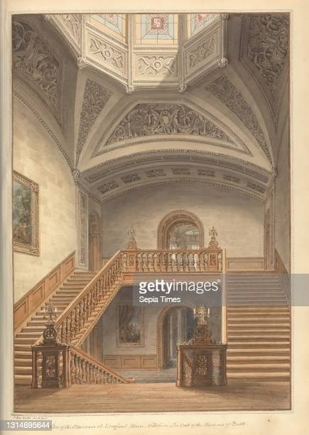 View of the Staircase at Longleat House, Wiltshire; the Seat of the Marquis of Bath, John Buckler FSA, 1770–1851, British, and John Chessell Buckler,...