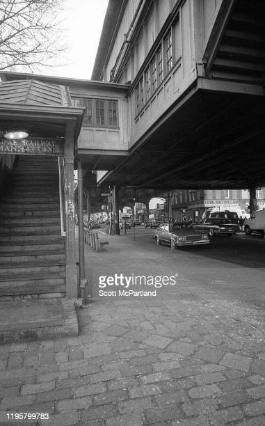 View of the staircase leading to the elevated subway line at the intersection of Roosevelt Avenue and National Street, in the Corona neighborhood of...